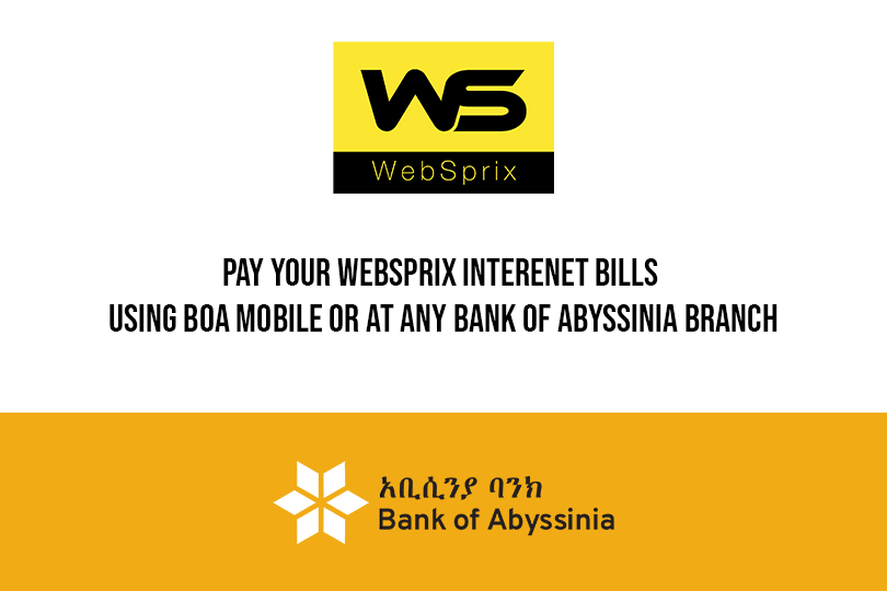 WebSprix taps into Bank of Abyssinia to facilitate their payment methods